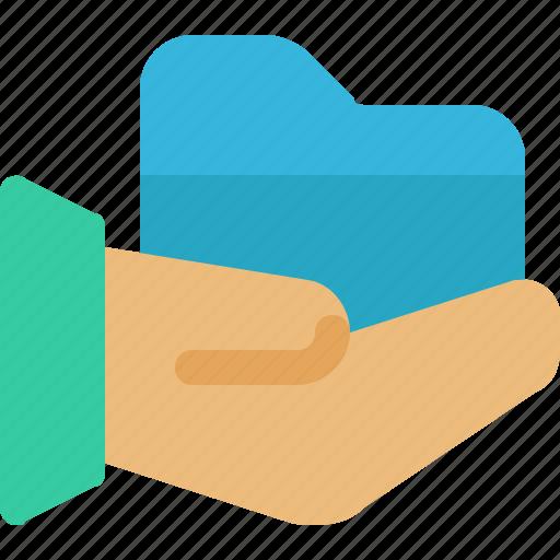 archive, data, folder, hand, share icon