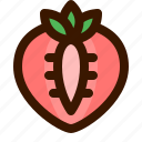 food, fruit, fruits, healthy, slice, strawberry, sweet icon