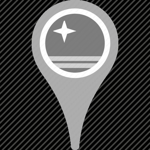 aruba, country, county, flag, map, national, pin icon