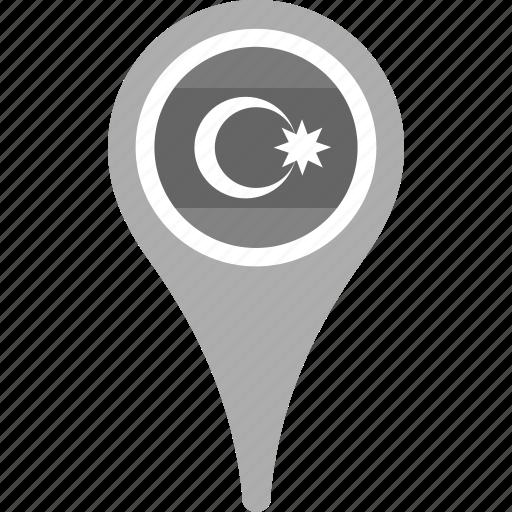 azerbaijan, country, county, flag, map, national, pin icon