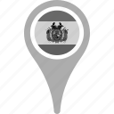 bolivia, country, county, flag, map, national, pin icon