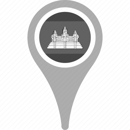 cambodia, country, county, flag, map, national, pin icon