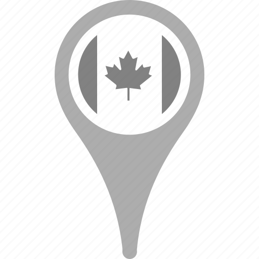 canada, country, county, flag, map, national, pin icon