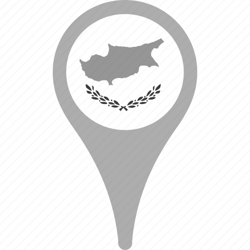 country, county, cyprus, flag, map, national, pin icon
