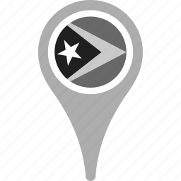 country, county, east timor, flag, map, national, pin icon