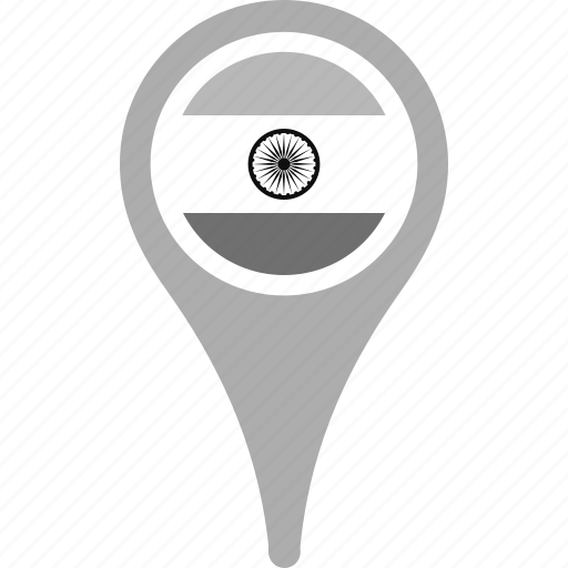 country, county, flag, india, map, national, pin icon