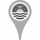 country, county, flag, kiribati, map, national, pin icon