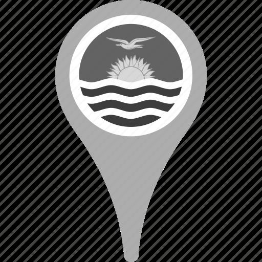 country, county, flag, kiribati, map, national, pin icon