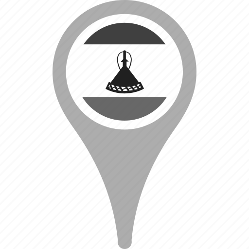 country, county, flag, lesotho, map, national, pin icon