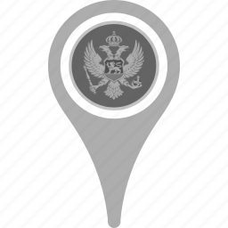 country, county, flag, map, montenegro, national, pin icon