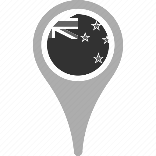 country, county, flag, map, national, new zealand, pin icon