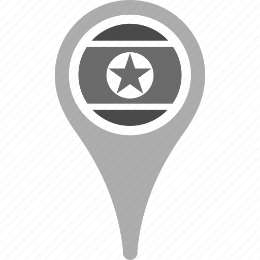 country, county, flag, korea, national, north, pin icon