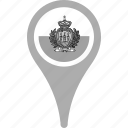 country, county, flag, map, national, pin, san marino icon