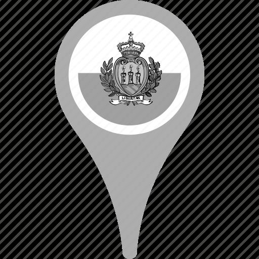 country, county, flag, map, national, pin, san marino icon