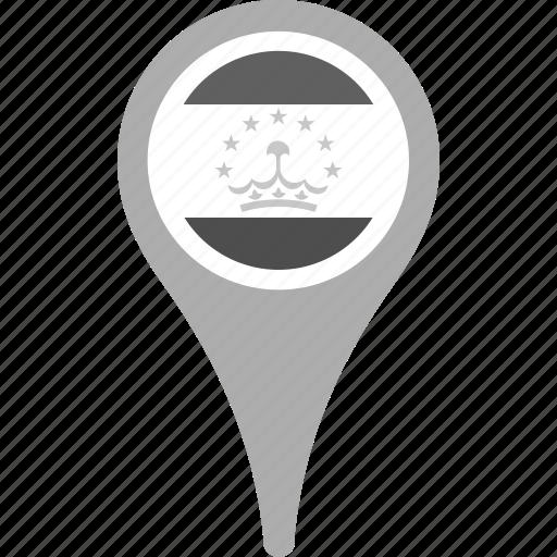 country, county, flag, map, national, pin, tajikistan icon