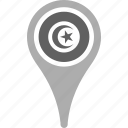 country, county, flag, map, national, pin, tunisia icon