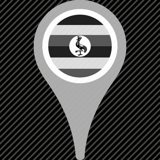 country, county, flag, map, national, pin, uganda icon