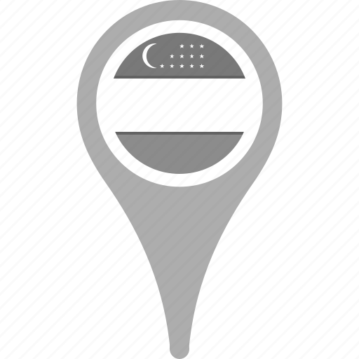 country, county, flag, map, national, pin, uzbekistan icon
