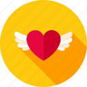 feeling, heart, love, romance, valentine day, wings icon