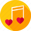 hearts, love, music, musical, note, sheet, sheet note icon