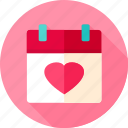 calendar, date, day, heart, love, valentine, valentine day icon