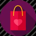 bag, fashion, heart, love, package, shopping, shopping bag icon