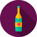 alcohol, bottle, celebration, champagne, drink, heart, love icon