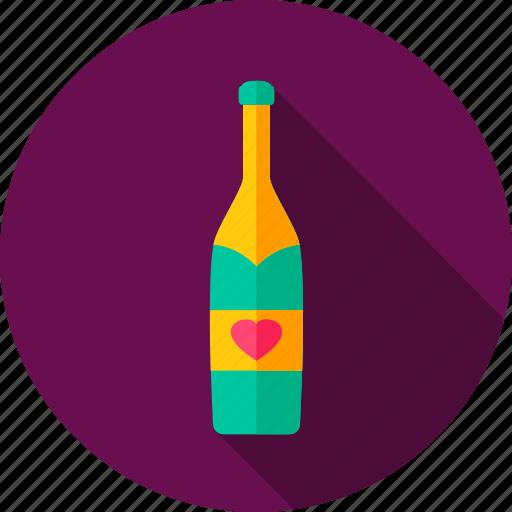 alcohol, bottle, celebration, champagne, drink, heart, love icon
