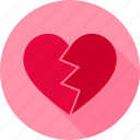 broken, crush, heart, love, pain icon