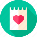 date, heart, love, paper, valentine, valentine day icon