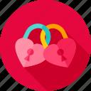couple, hearts, keyhole, lock, love, padlock icon