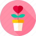 flower, flower pot, garden, heart, pot, valentine icon