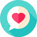 bubble, chat, heart, love, message, speech icon