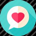 bubble, chat, heart, love, message, speech
