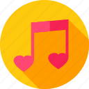 heart, love, music, musical, note, sheet icon