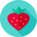 berry, food, fruit, heart, strawberry, sweet icon