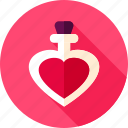 bottle, heart, love, parfume, poison, potion icon