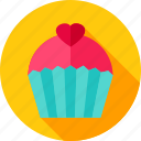 cupcake, food, heart, love, sweet, valentine icon