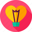 bulb, heart, lamp, light, love icon