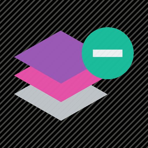 delete, layer, layers, minus, remove icon