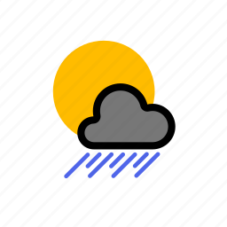 cloud, clouds, cloudy, cold, forecast, heavy, rain, showers, storm, sun, weather, wind icon