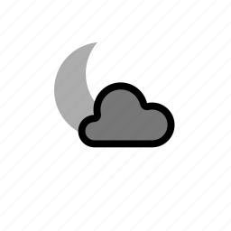 cloud, clouds, cloudy, forecast, heavy, moon, night, showers, snow, weather, winter icon