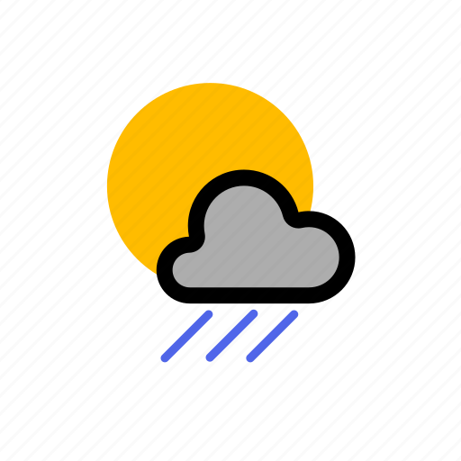 cloud, clouds, cloudy, forecast, light, rain, showers, storm, sun, sunny, weather icon