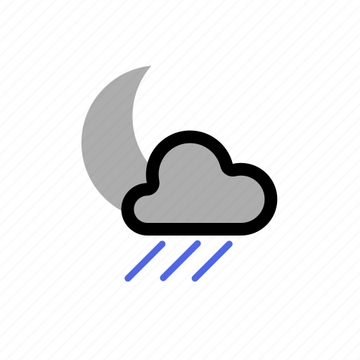 cloud, clouds, cloudy, forecast, light, moon, night, rain, showers, weather icon