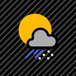 cloud, clouds, cloudy, forecast, rain, showers, sleet, snow, sun, sunny, weather icon