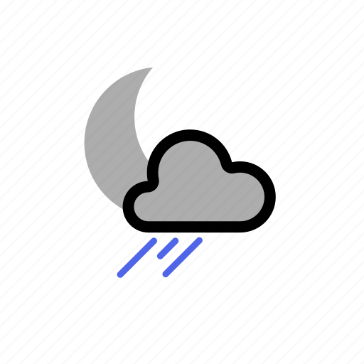 cloud, clouds, cloudy, forecast, moon, night, rain, showers, sleet, star, weather, winter icon