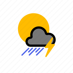 cloud, dark, dark cloud, lightning, rain, rainy, showers, sun, thunder, thundery icon