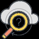 cloud, search, magnifier, server, web icon, web service, business icon