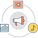 content, marketing, advertising, digital, business, promotion, online advertising icon