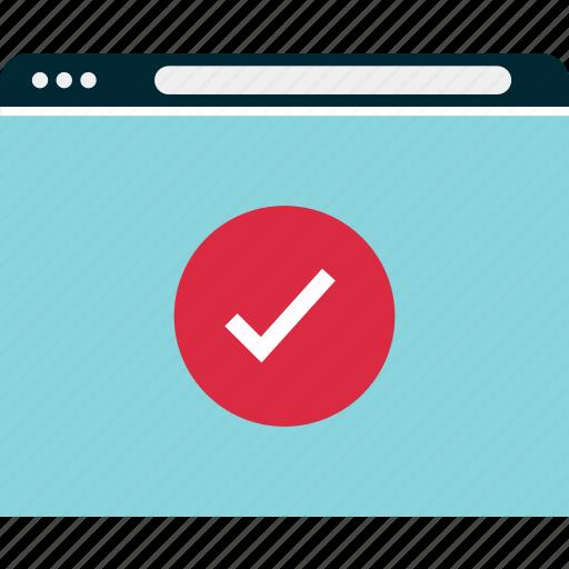 browser, check, mark, mockup, ok, website, wireframe icon
